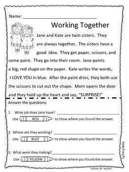 Differentiated Reading Passages for Kindergarten Unit 6