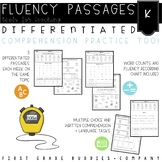 Kinder Differentiated Reading Fluency Passages with Comprehension and Questions