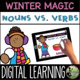 Kindergarten Digital Center: Winter Magic Noun vs Verbs (J