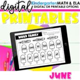 Kindergarten Digital Printables for June   SeeSaw Google or Print