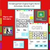 Kindergarten Digital Sight Words Activities: Words 1-10