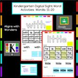 Kindergarten Digital Sight Words Activities: Words 11-20