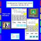 Kindergarten Digital Sight Words Activities: Words 21-30