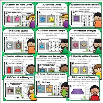Go Math Kinder Digital Task Cards-Identify and Describe 2-D Shapes