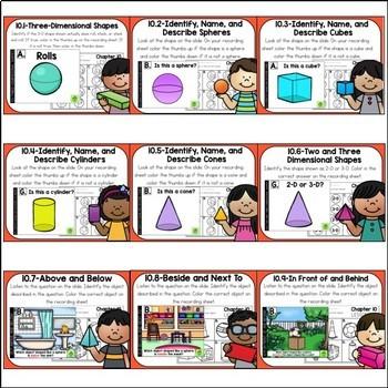 Go Math Kindergarten Digital Task Cards-Identify and Describe 3-D Shapes