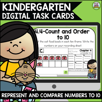 Go Math Kindergarten Digital Task Cards- Represent and Compare Numbers to 10