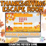 Kindergarten Digital Thanksgiving Math Escape Room Game  