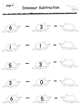 Kindergarten Dinosaur Subtraction Math