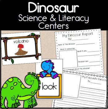 Kindergarten Dinosaur Themed Science and Literacy Centers