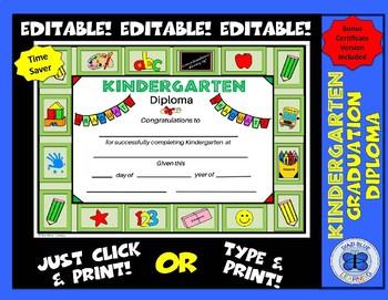 Kindergarten Diploma - All About School Theme- Editable