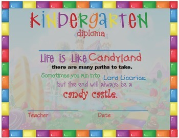 Kindergarten Diploma - Candyland Theme