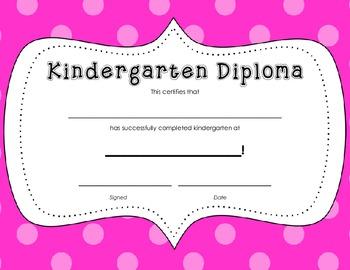 Kindergarten Diploma Certificate: Pink