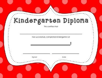 Kindergarten Diploma Certificate: Red