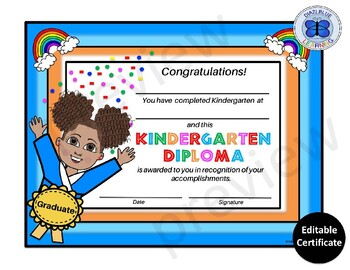 Kindergarten Diploma - Happy Girl Theme- Editable