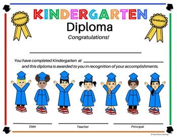 Kindergarten Diploma - Kids on books Theme - Editable