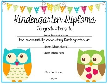 Kindergarten Diploma Owl Theme By Just Reed Teachers Pay
