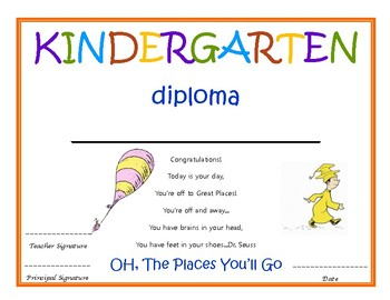 kindergarten diploma with signatures dr seuss by kindergarten nerd