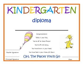 kindergarten diploma with signatures dr seuss by kindergarten nerd