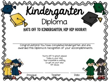 kindergarten diplomas by jen agent teachers pay teachers