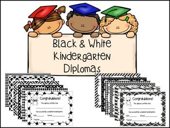Kindergarten Diplomas- Black & White