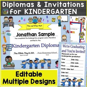 Kindergarten Diplomas, Certificates, Graduation Invitations Editable