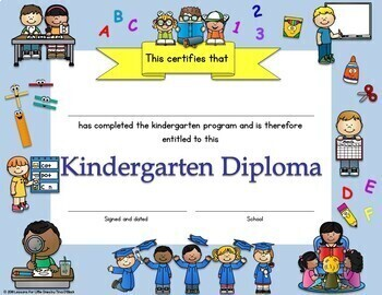 Kindergarten Diplomas, Certificates, Graduation Invitations Editable