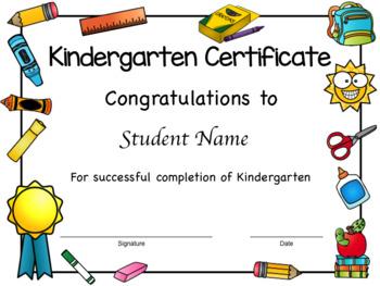 Kindergarten Diplomas, Certificates, and Completions
