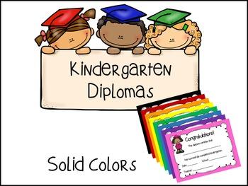 Kindergarten Diplomas- Solid Colors