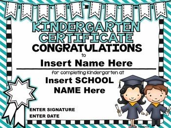 Kindergarten Diplomas/Certificates in ENGLISH
