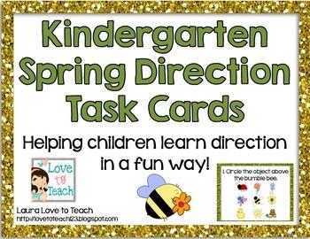 Kindergarten Direction Task Cards (Spring Themed)