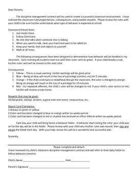 Kindergarten Discipline Management Contract