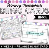 Kindergarten Homework Bingo Choice Boards April