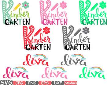 Kindergarten Diva Silhouette SVG clipart Back to School 1st Day flower -46sv