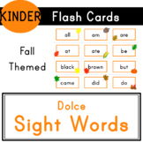 Kindergarten - Dolce Sight Words - 52 Fall Themed Flash Cards