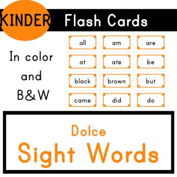 Kindergarten - Dolce Sight Words - 52 Flash Cards