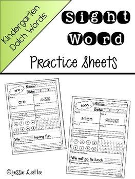Kindergarten Dolch Practice Sheets