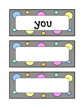 Kindergarten Dolch Pre-Primer Sight Word Wall - Dots & Pastel, Grey Theme