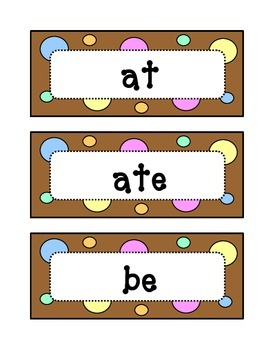 Kindergarten Dolch Primer Sight Word Wall - Dots & Pastel, Chocolate Brown Theme