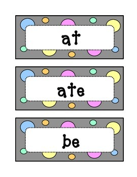 Kindergarten Dolch Primer Sight Word Wall - Dots & Pastel, Grey Theme