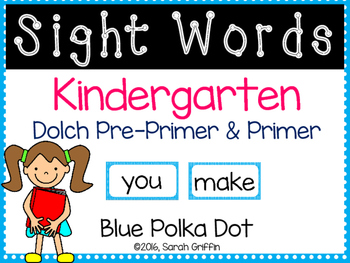 Kindergarten Dolch Sight Word Cards ~ Blue Polka Dots
