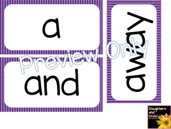 Kindergarten Dolch Sight Word Cards ~ Purple Polka Dots