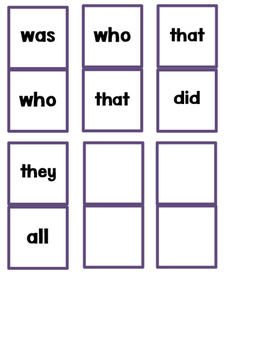 Kindergarten Sight Word Dominoes Game
