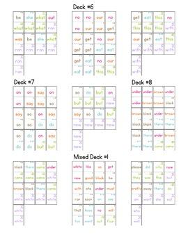 Kindergarten Dolch Sight Word Dominos (10 Games, 210 Dominos)