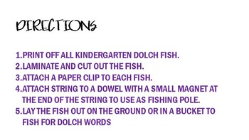 Kindergarten Dolch Sight Word Fishing Game