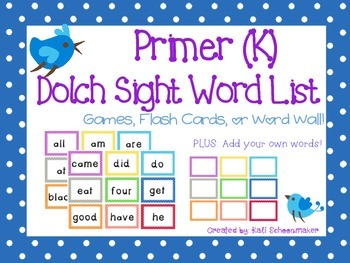 Kindergarten Primer Dolch Sight Word Games and Flash Cards