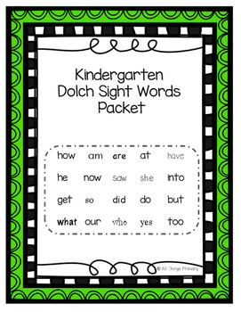Kindergarten Dolch Sight Word Packet