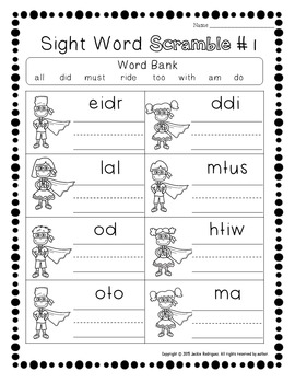 Kindergarten Dolch Sight Word Practice and Review