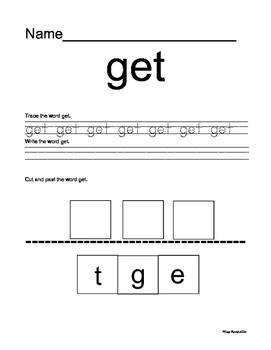 Kindergarten Dolch Sight Words