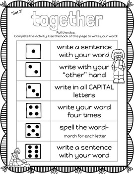 "Kindergarten Dolch Sight Words Activities WINTER ""SET 3"""