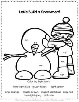 "Kindergarten Dolch Sight Words Activities WINTER ""SET 3"""